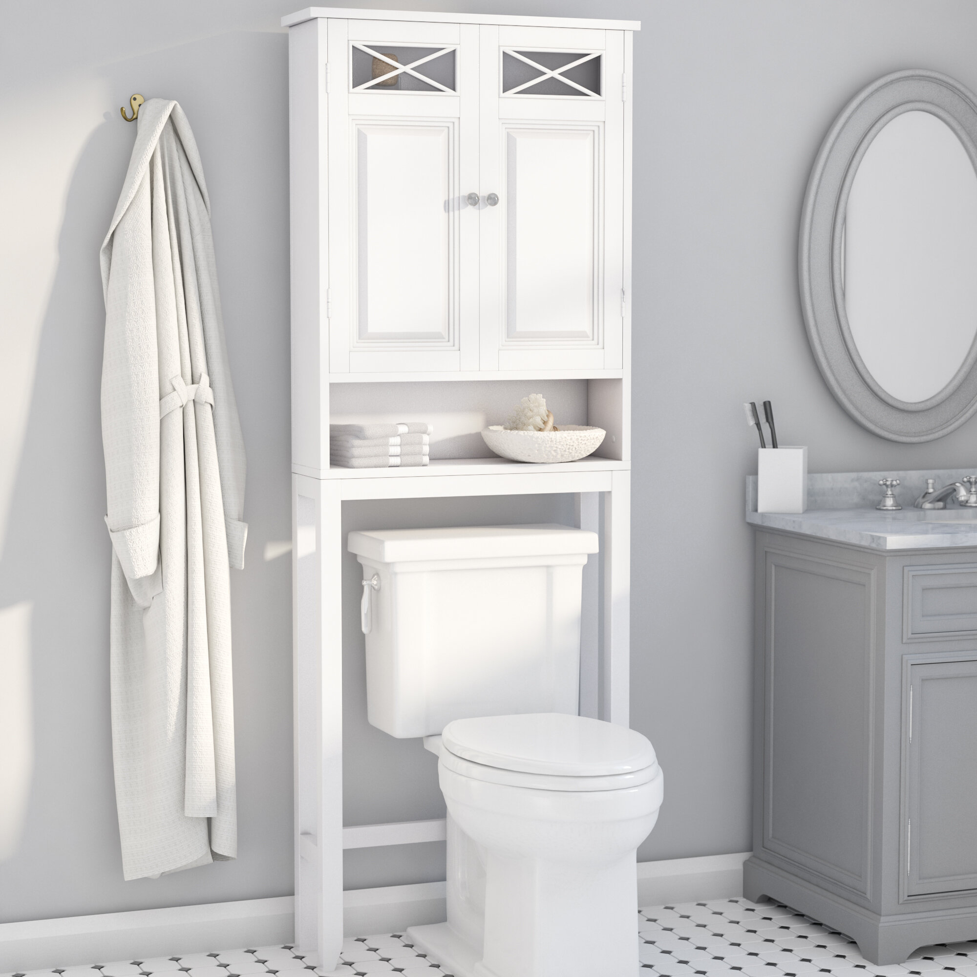 "Darby Home Co Coddington 25"" W x 68"" H Over The Toilet Storage & Reviews | Wayfair"