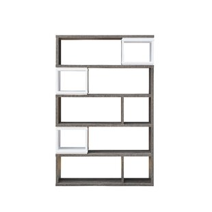 Ellie Modern Bookcase In Distressed Grey And White