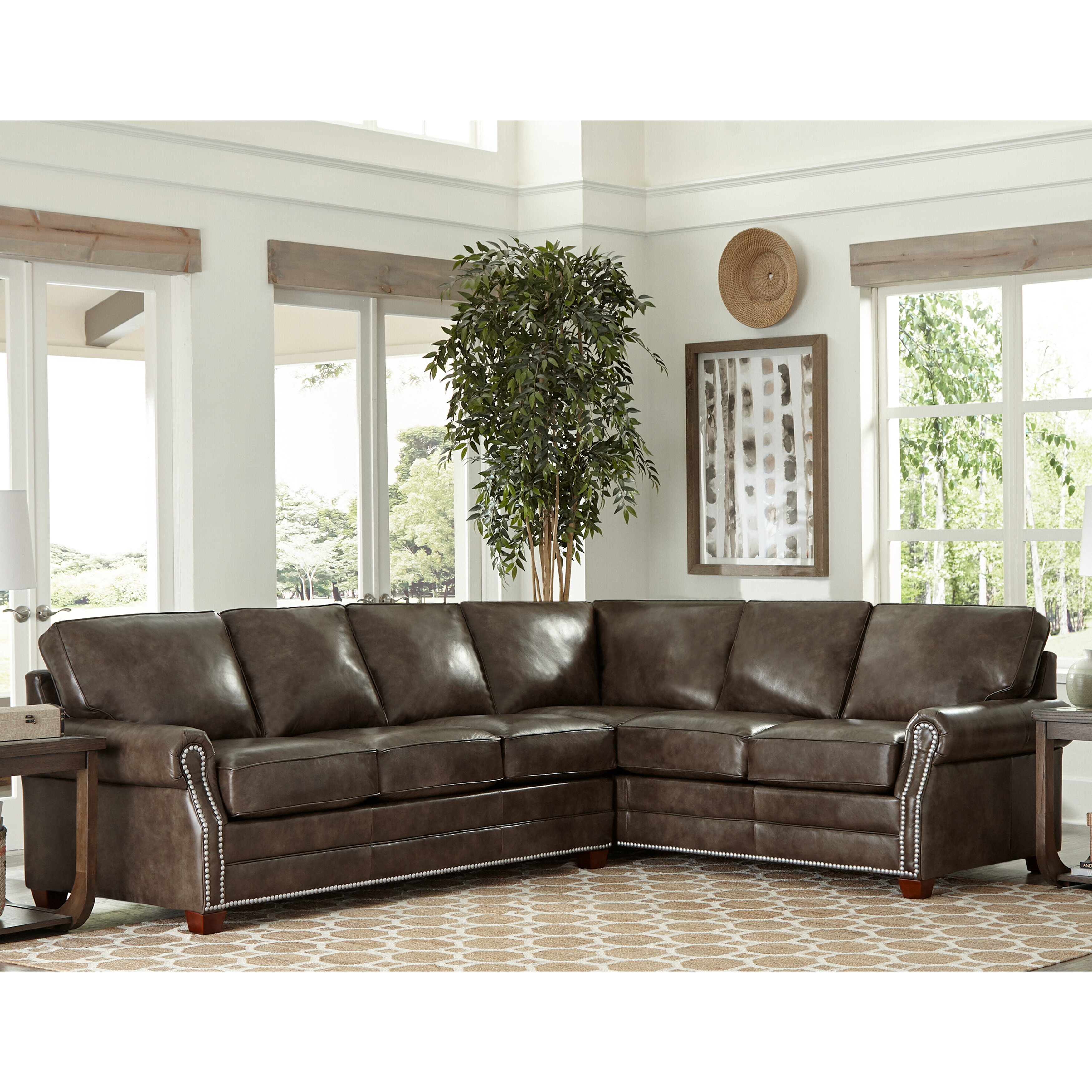 17 Stories Susana Leather Sleeper Sectional | Wayfair
