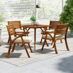 teak outdoor table rustic ajax piece dining set with cushions teak patio furniture youll love wayfair