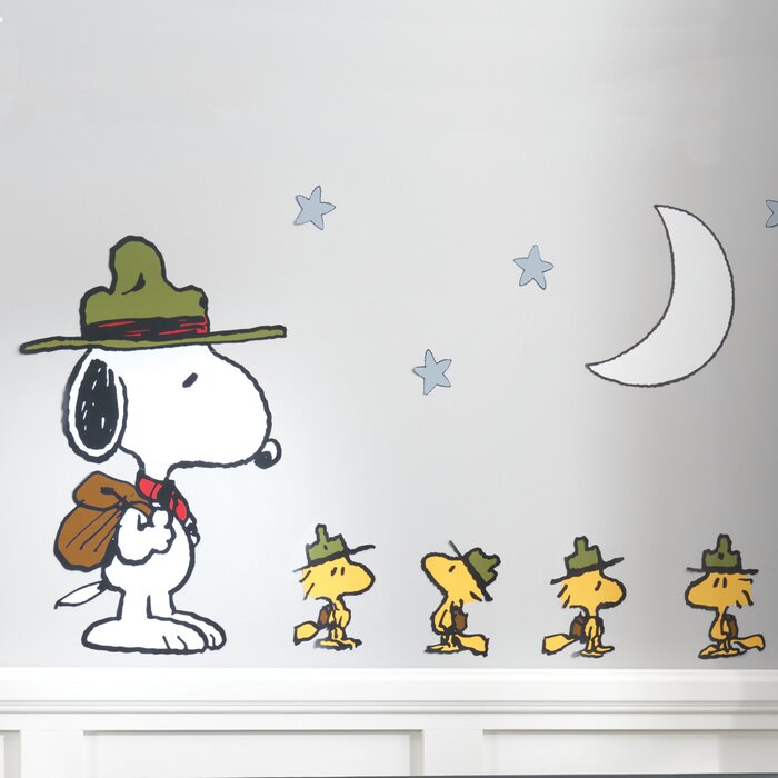 37063aca1fcbe Snoopy's Campout Peanuts Stars Wall Decal