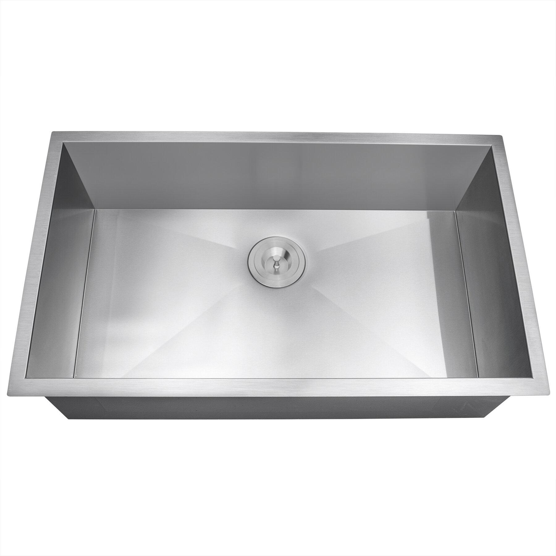 Akdy 33 X 22 Undermount Stainless Steel Single Bowl Kitchen Sink W