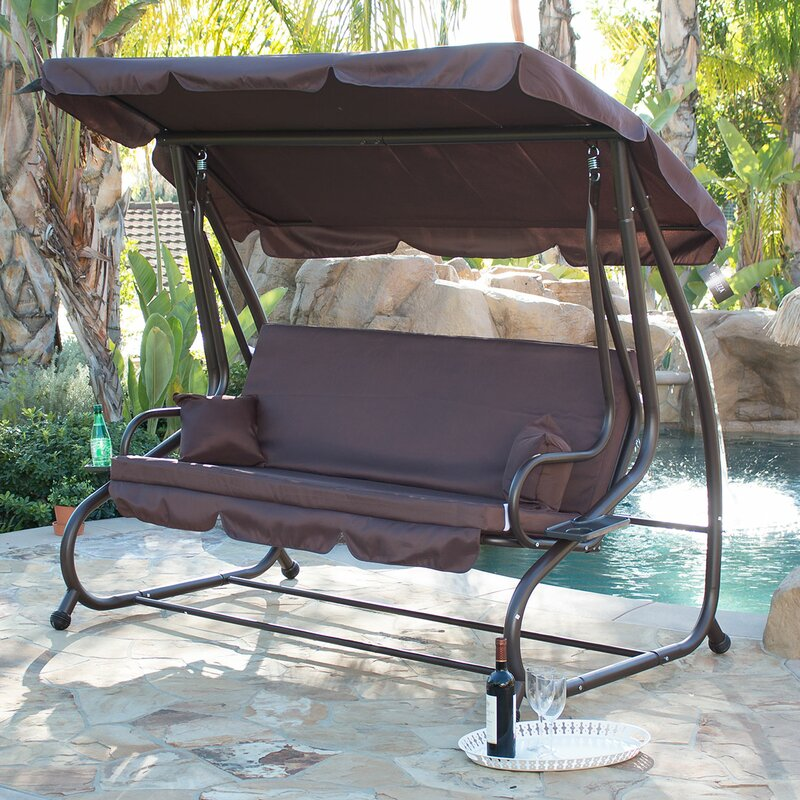 Belleze Canopy Porch Swing with Stand & Reviews | Wayfair
