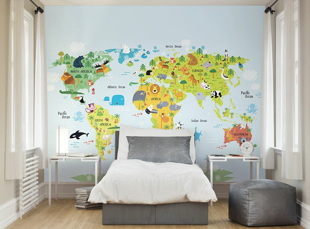 Whole wide world wall mural