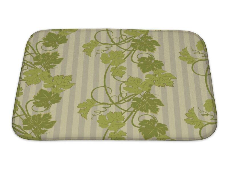 Leaves Repeating Pattern With Vines In Vintage Style Bath Rug