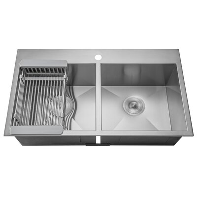 Akdy stainless steel 32 x 18 double basin drop in kitchen sink stainless steel 32 x 18 double basin drop in kitchen sink adjustable tray workwithnaturefo