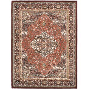 Copper/Dark Red Medallion Floral Rug
