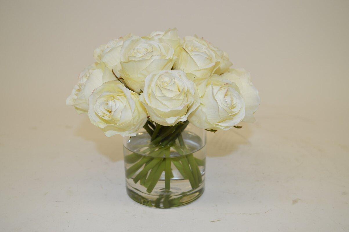 Cream roses in cylinder vase reviews birch lane cream roses in cylinder vase reviewsmspy