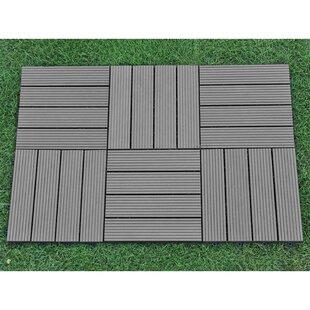 12 X Plastic Interlocking Deck Tile In Gray
