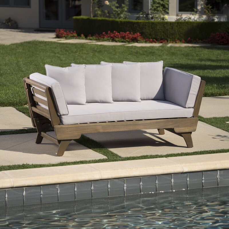 Ellanti Teak Patio Daybed with Cushions
