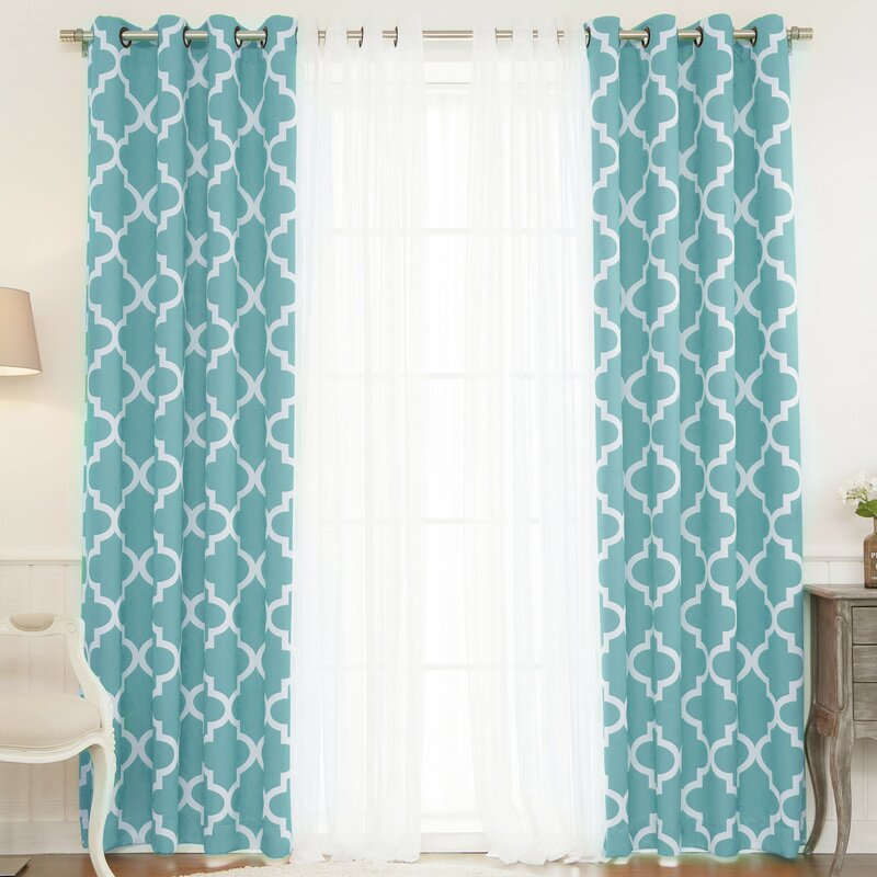 Brayden Studio Lippincott Geometric Sheer Grommet Curtain