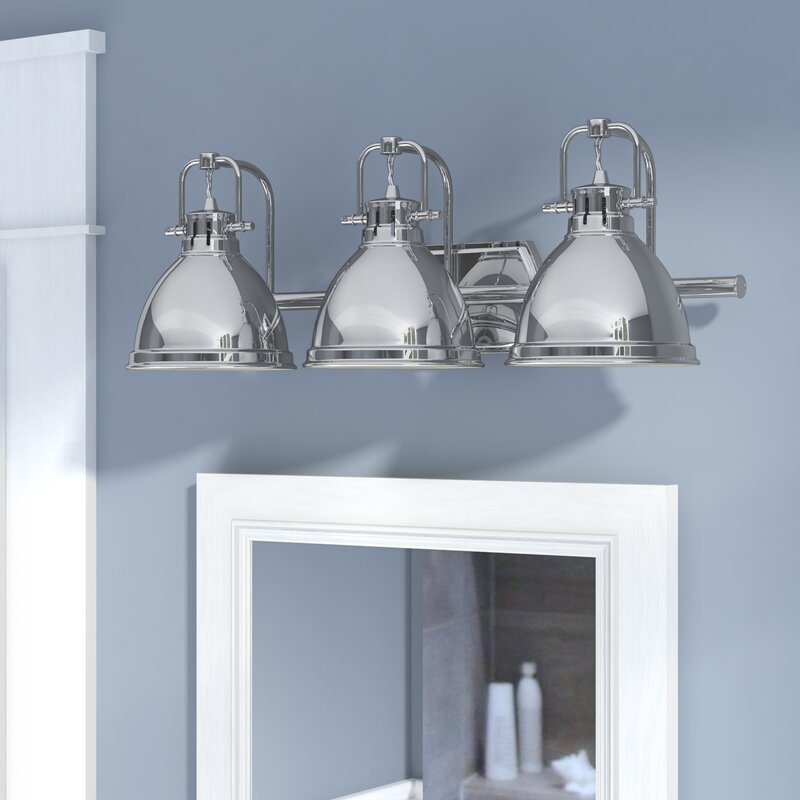 Bodalla 3 light metal vanity light reviews birch lane for Bathroom 3 light fixtures