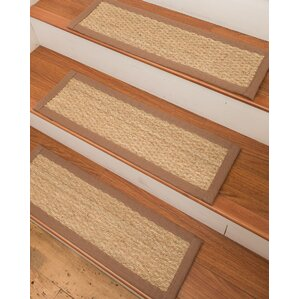Half Panama Seagrass Carpet Beige Stair Treads