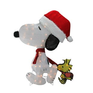 Pre-Lit Peanuts Snoopy and Woodstock 2D Christmas Yard Art Decoration Lighted Display