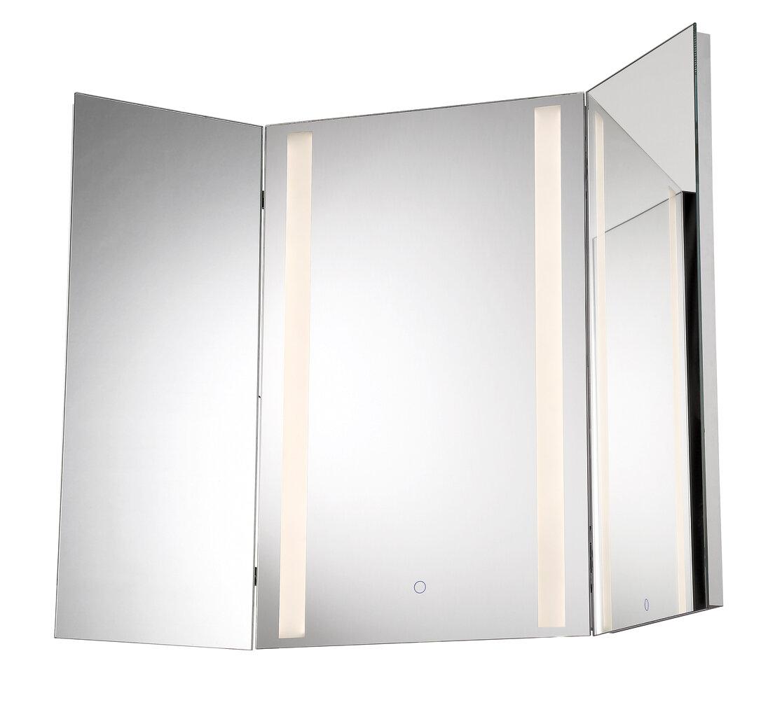 Orren Ellis Stoltenberg Tri-Fold LED Bathroom/Vanity Mirror | Wayfair