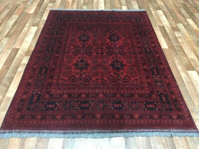 One-of-a-Kind Esperanza Khal Mohammadi Afghan Rug Hand-Woven Wool Red Area Rug