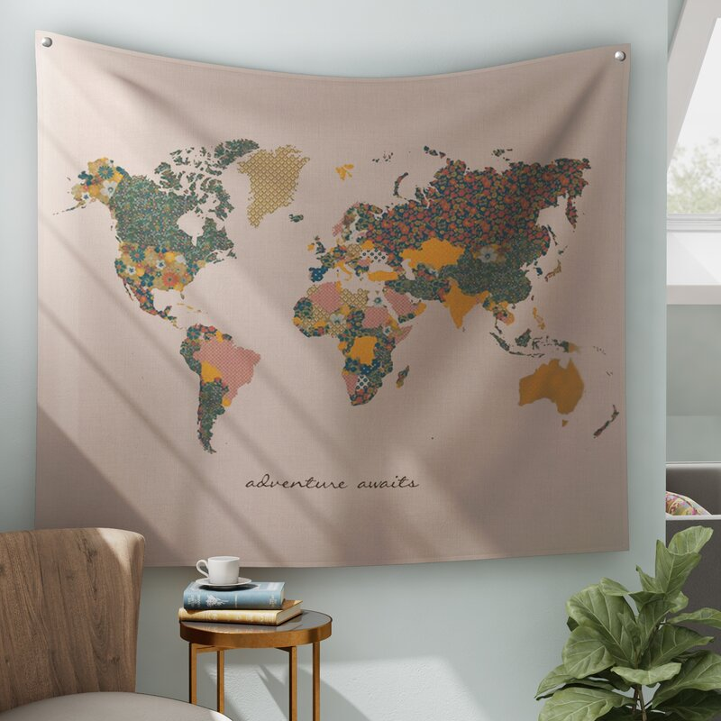 Bungalow Rose Adventure Await Map Tapestry And Wall Hanging