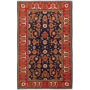 One-of-a-Kind Antique Shiravan Hand-Knotted Light Red/Navy Blue Area Rug