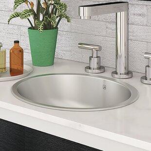 Taji Stainless Steel Metal Oval Undermount Bathroom Sink with Overflow