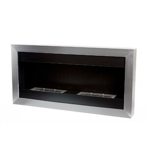 Square Large II Stainless Steel Ventless Wall Mounted Ethanol Fireplace by Bio-Blaze