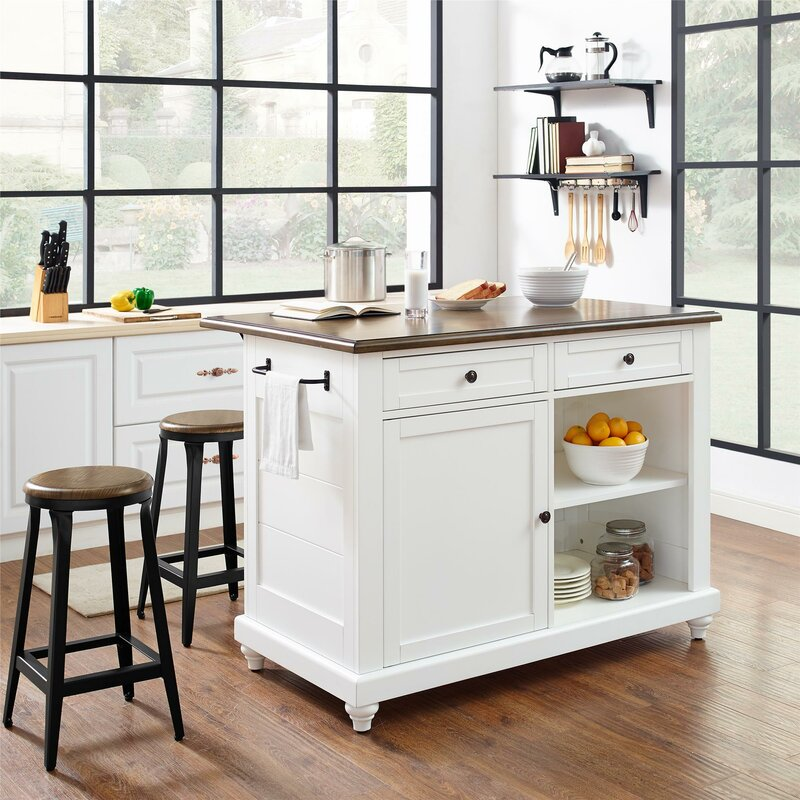 kitchen island set darby home co gilchrist kitchen island set reviews wayfair 8384