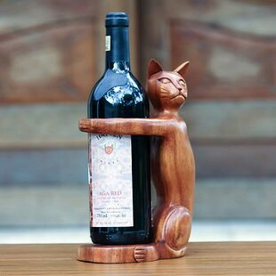 Hand Carved Wooden Cat 1 Bottle Tabletop Wine Bottle Rack