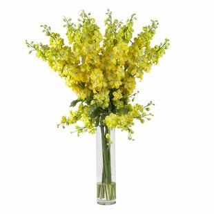 Bathroom flower arrangements wayfair delphinium silk flower arrangement in yellow mightylinksfo Images