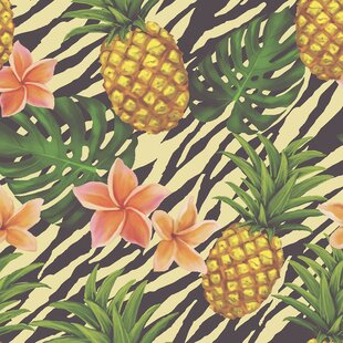 Pineapple On Zebra Removable 5 X 20 Floral Wallpaper