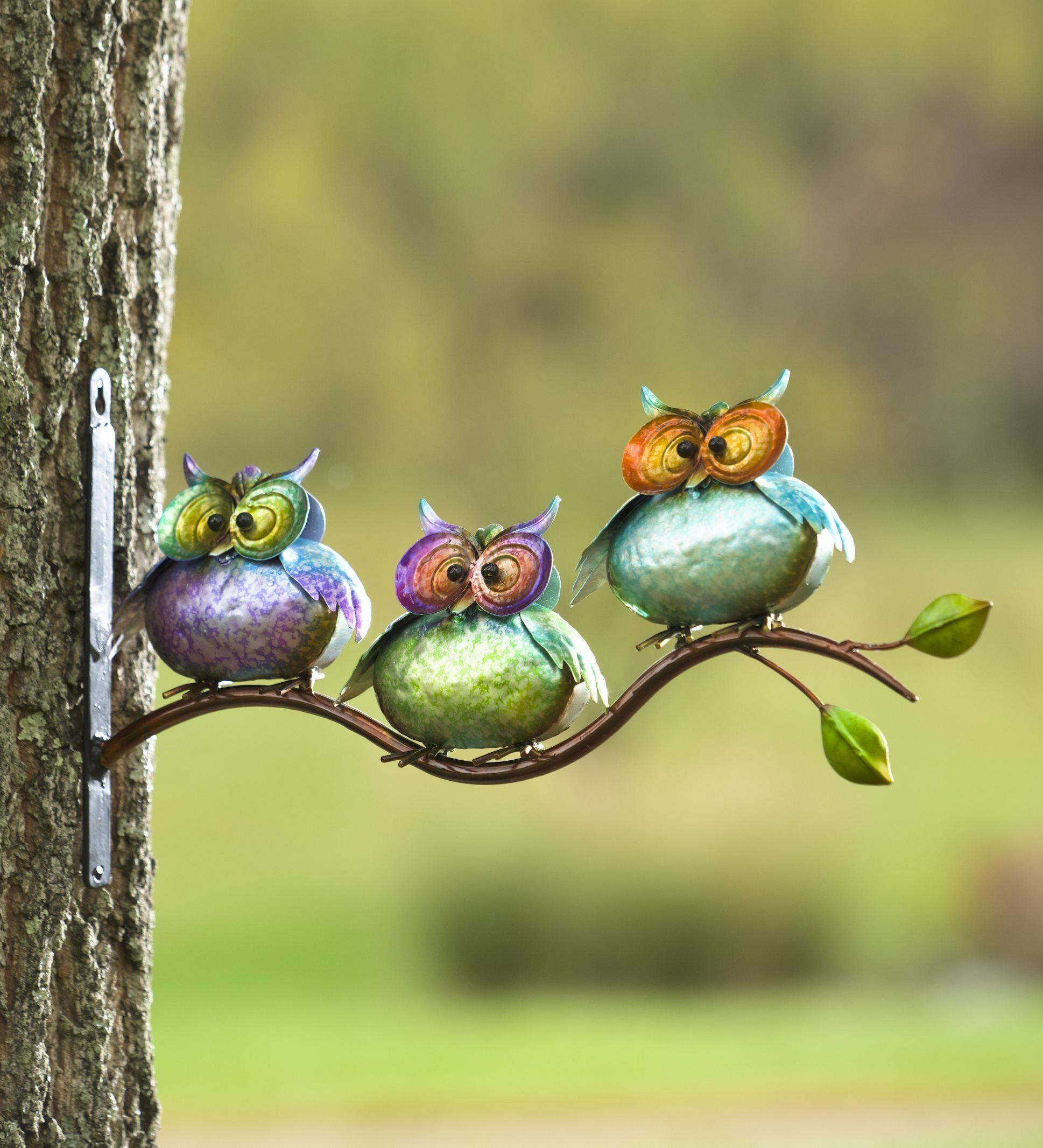 Plow & Hearth 3 Metal Owls on Branch Wall Decor & Reviews | Wayfair