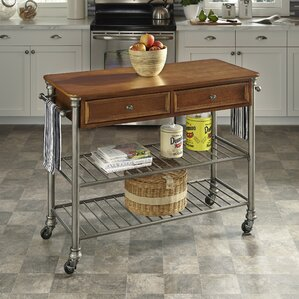 Kibbe Kitchen Island with Wood Top by Red..