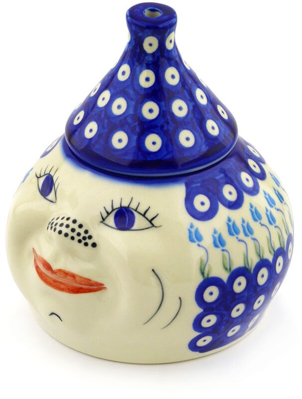 Polish Pottery Floral Peacock Garlic And Onion Kitchen Canister