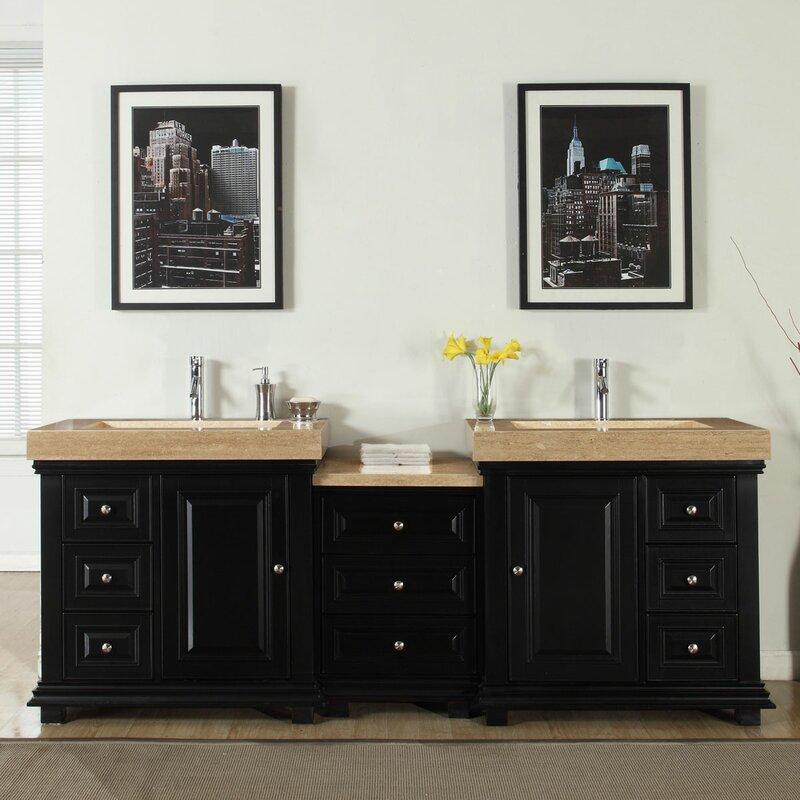 """Modern Bathroom Vanity And Sink silkroad exclusive 90"""" double sink modern bathroom vanity set"""