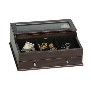 961cfbff2 Men's Glass Top Wooden Dresser Top Valet Jewelry Box