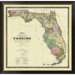 new map of the state of florida 1870 by columbus drew framed graphic art on canvas