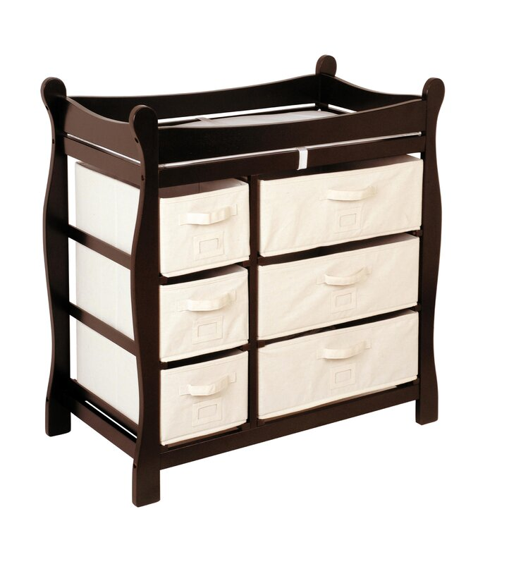 Superior Shannon Sleigh Style Baby Changing Table With 6 Baskets