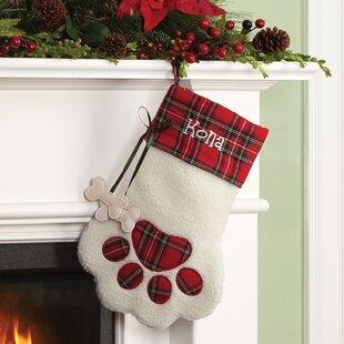 plaid dog bone personalized paw stocking - Red And White Christmas Stockings