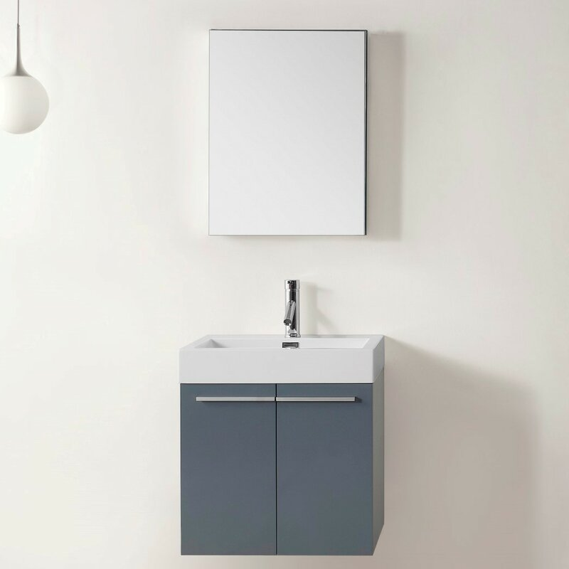 Frausto 232 Single Bathroom Vanity Set With White Top And Mirror