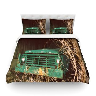 Ford Teal Car By Angie Turner Featherweight Duvet Cover