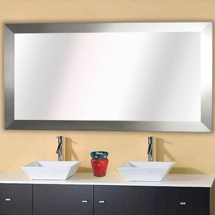 Brushed Nickel Bathroom Mirror. Hogge Modern Brushed Nickel Large Frame Wall Mirror  Wayfair