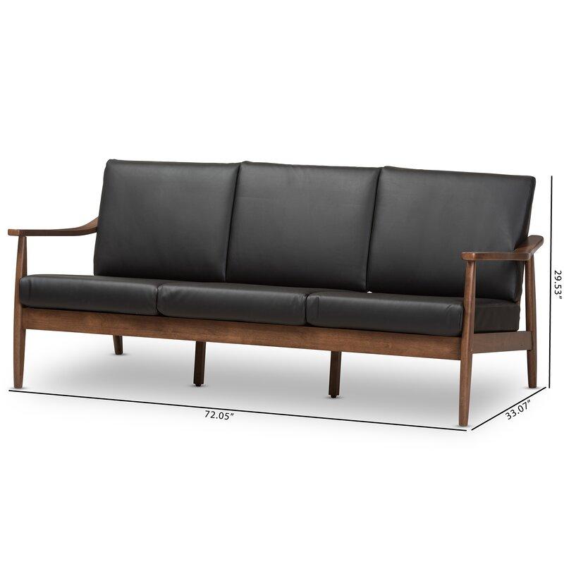 Merveilleux Kellner Mid Century Modern Faux Leather Sofa