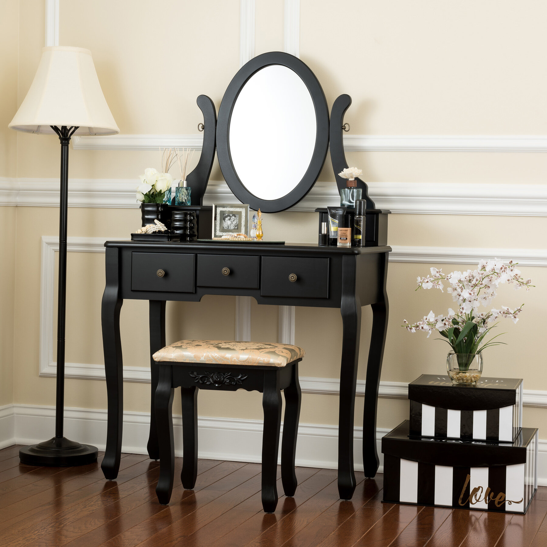 Charlton Home Chelsey Dressing Vanity Set With Mirror Reviews