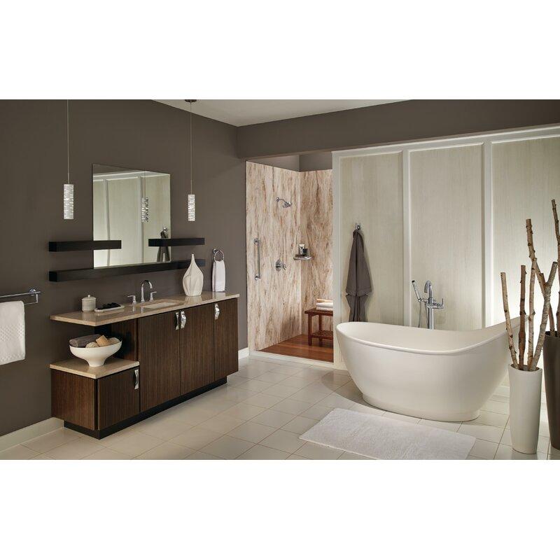 Delta Trinsic Bathroom Single Handle Floor Mount Tub Filler With Hand Shower Reviews Wayfair