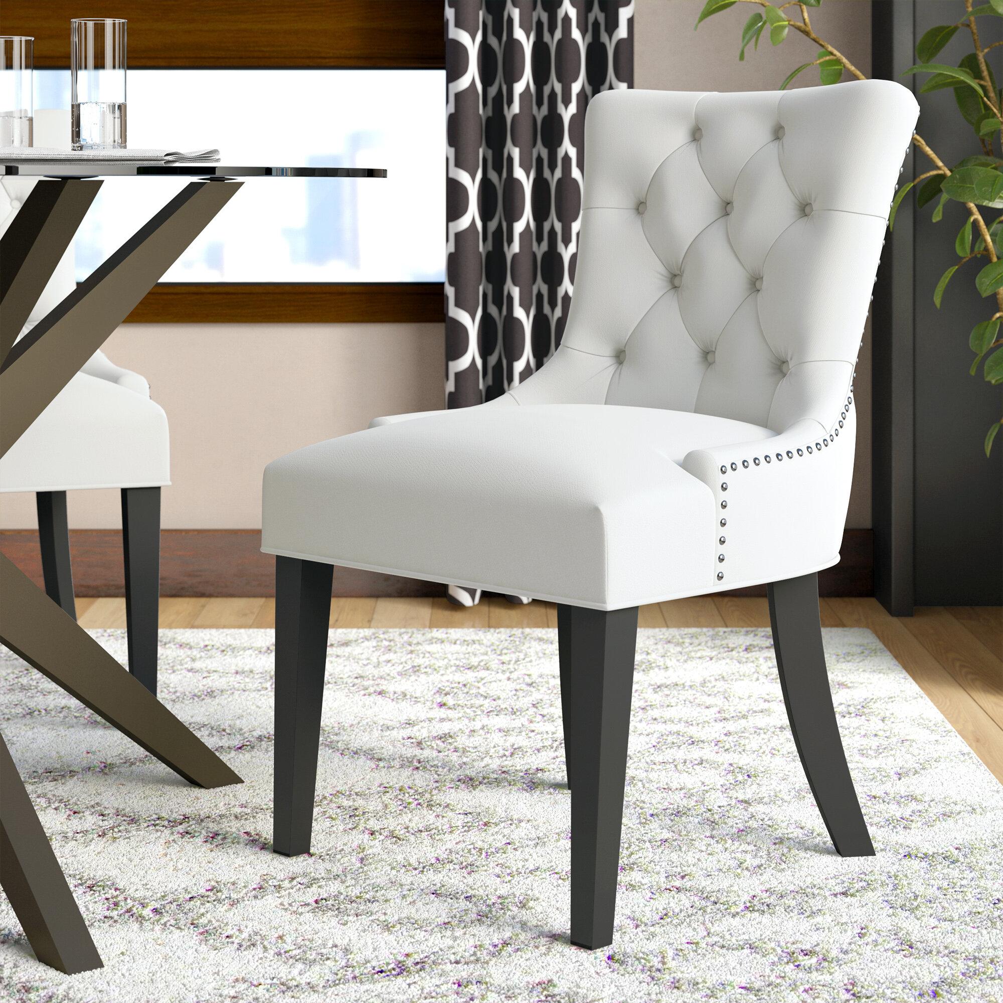 Corrigan studio carlton wood leg upholstered dining chair reviews wayfair
