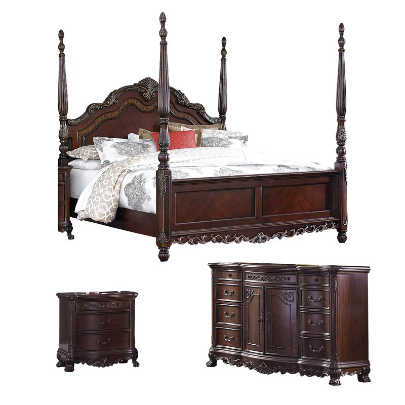 Top Rated Furniture Stores: Astoria Grand Chalus Queen Four Poster Configurable