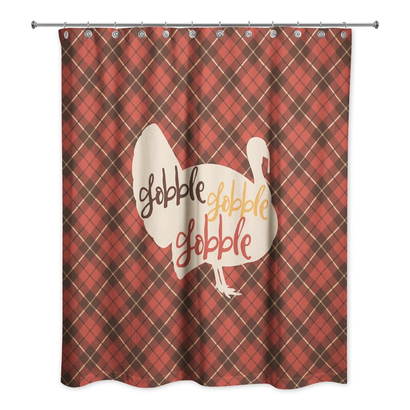 Remi Gobble Plaid Turkey Shower Curtain