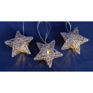 10 Light Battery Operated Sparkling Glittered Star Christmas Light String