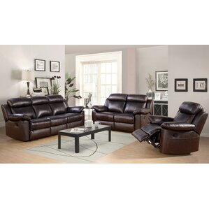 Oliver Leather 3 Piece Living Room Set by Breakwater Bay
