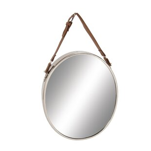 bb585e6e52 Sophronia Stainless Steel Leather Wall Mirror