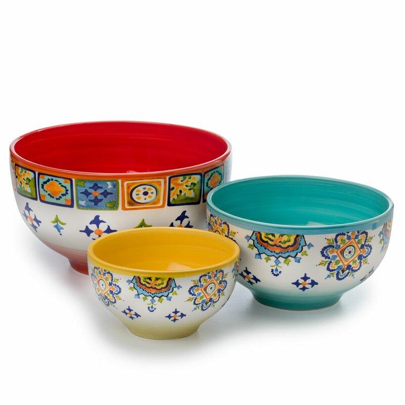 euro ceramica mumbai 3 piece ceramic mixing bowl set reviews wayfair. Black Bedroom Furniture Sets. Home Design Ideas