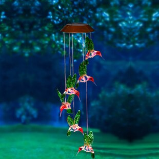 Hummingbird Painted Solar Mobile Wind Chime